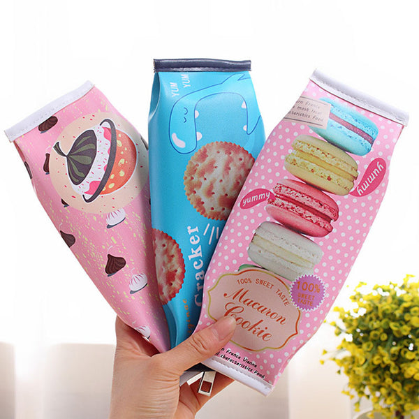 Kawaii Macaron School Pencil case for girls Mr. Cracker PU leather pencil Bag kids gift estojo office school supplies Escolar