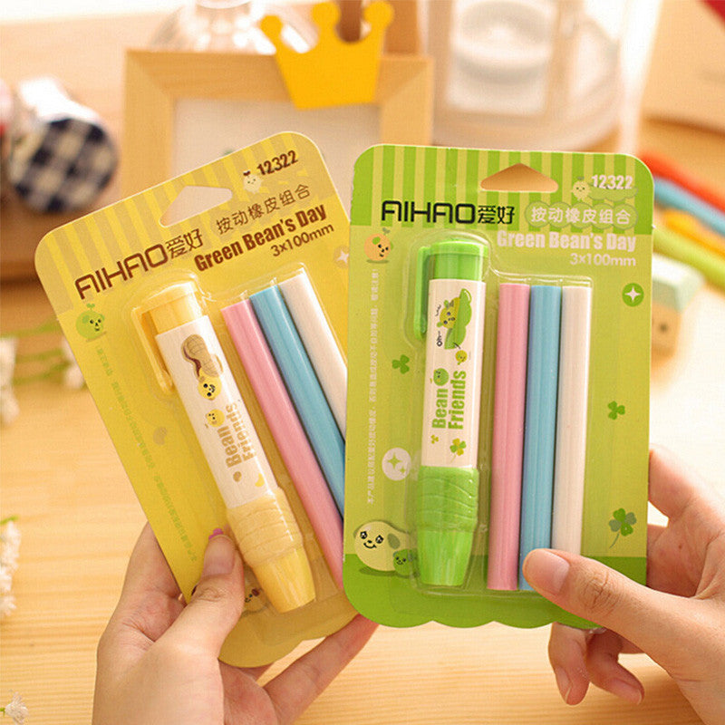 Kawaii little bean press type pen shape eraser rubber eraser set student stationery school supplies gift