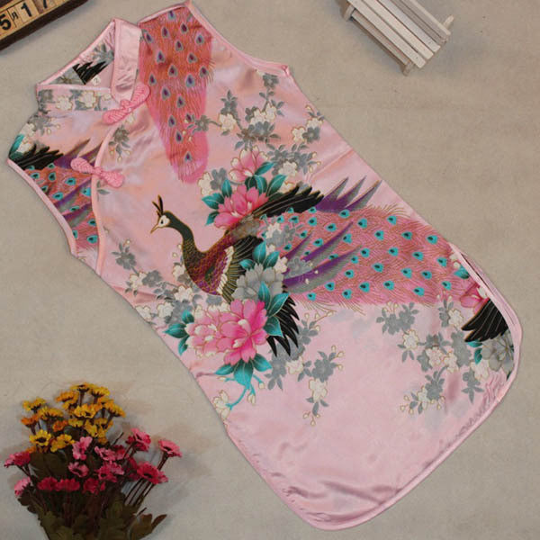 Kids Baby Girls Sleeveless Retro Chinese Peacock One-Piece Dress 2-8Y Cheongsam