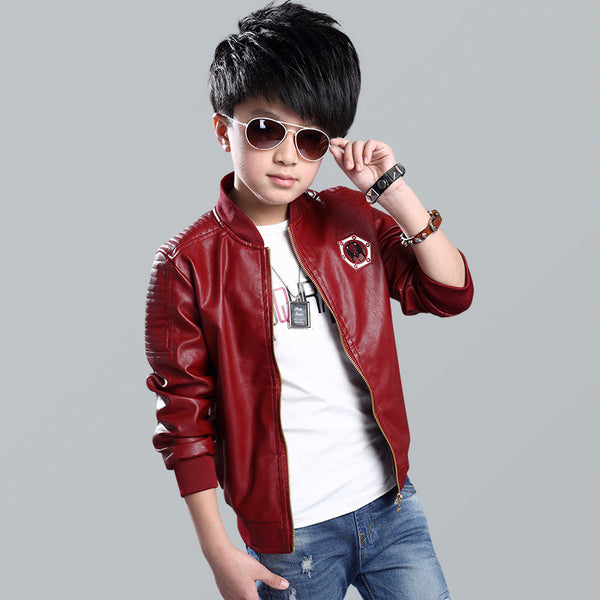 Kindstraum 2016 New Boys Faux Leather Jackets European and American Style Kids Fashion Coats Outerwear Spring & Autumn MC130