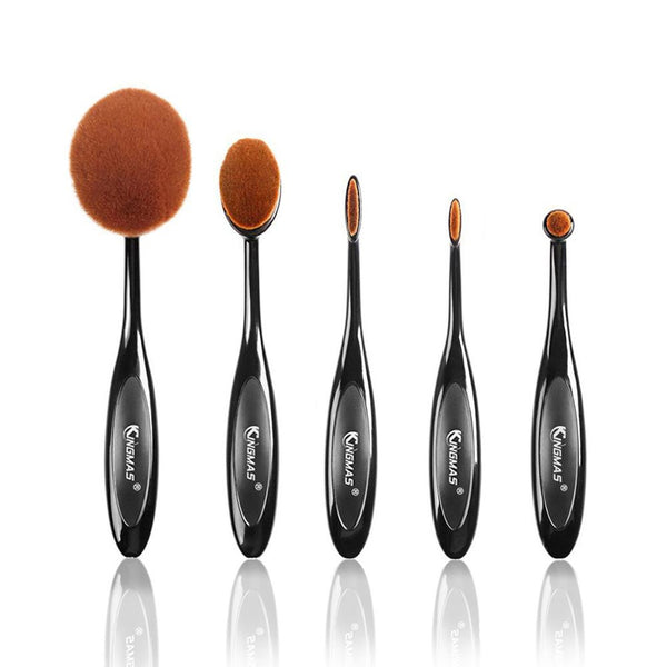 Kingmas 5PCS 10PCS Per Set Tooth Brush Shape Oval Makeup Brush Set Soft Oval Brush for Foundation Blush Concealer Cosmetic Tool