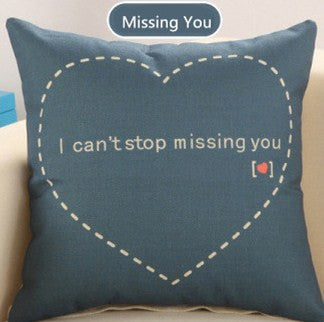 Love Story Cotton Linen Sofa Cushion 45x45cm 17.7x17.7'' Sweetlove Throw pillow Home&Garden Textile seat cushion Home Decor