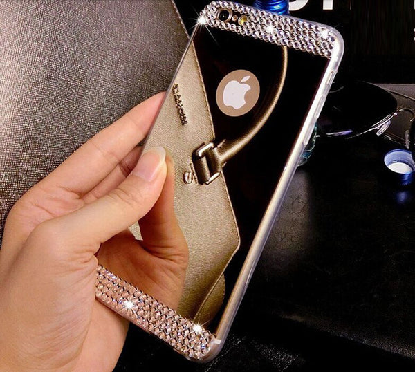 Luxury Bling Diamond Mirror Case Cover For iphone 7 7 Plus 6 6s Plus 5 5s SE Cover Soft TPU Clear Rhinestone Phone Cases Shell