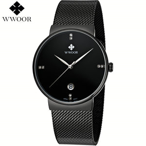 Wwoor Stainless Steel Quartz Alloy Quartz Wristwatches Men 8018