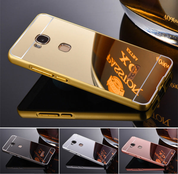 Luxury Mirror Electroplating Aluminium Metal phone Cases Thin Frame Protective Hard cover for Huawei honor 5x Back Cover