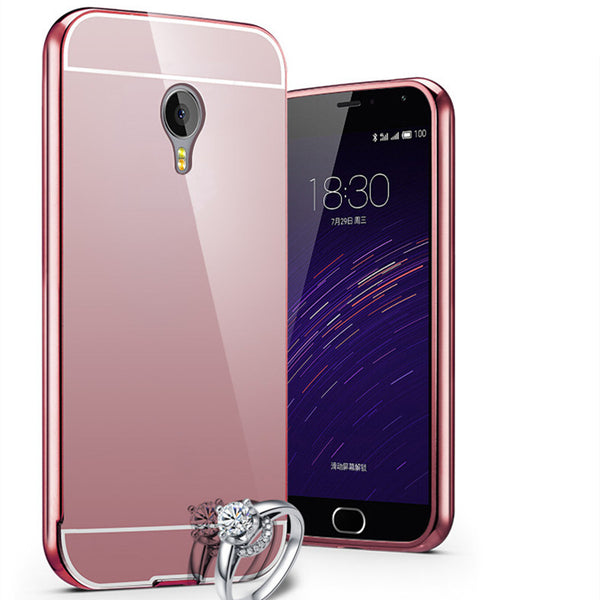 Luxury Plating Aluminum Frame+Acrylic Mirror Phone Case For Meizu MX5 Pro5 Pro6 Metal Meilan M1 M2 M3 M3S Note 2 3 Back Cover
