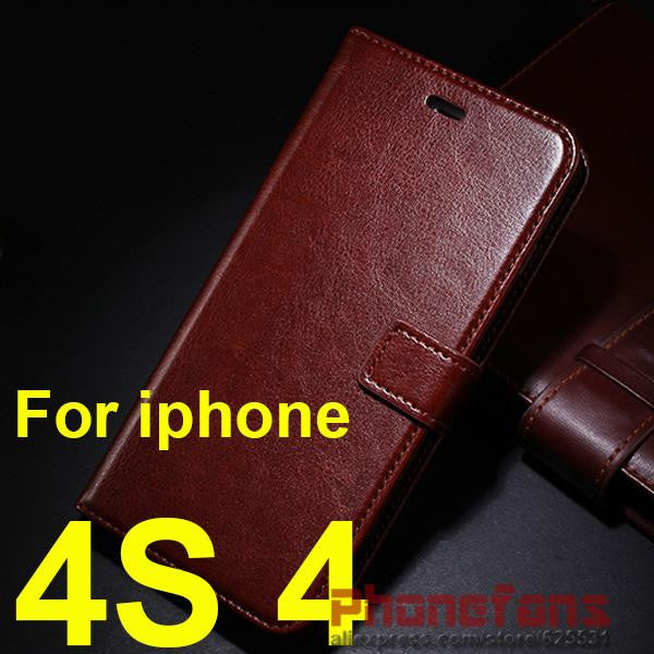 Luxury Retro wallet leather Case For Apple iPhone 6S 6 5S Case SE 5 4S 4 flip stand cover Photo frame Protective For iphone 6