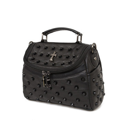 Esnbie Rivet Patchwork Genuine Leather Handbags Women Bm8002-b