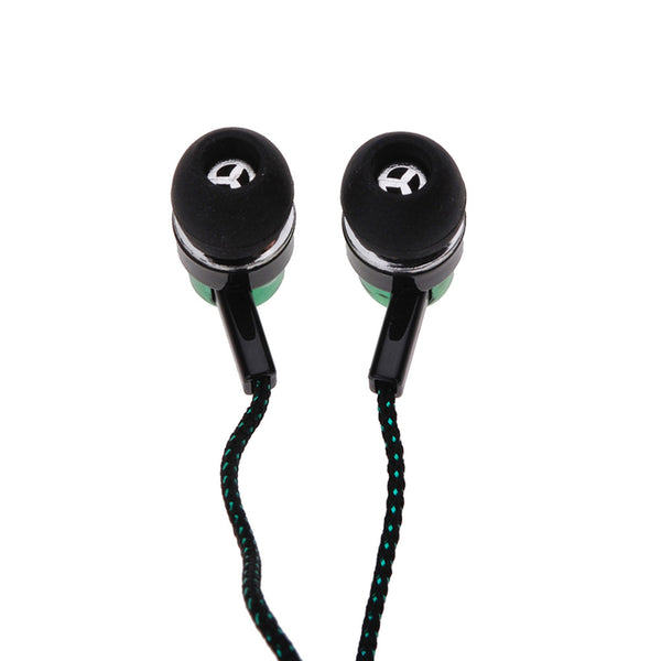 MP3 mp4 Roping Stereo 3.5mm Subwoofer In Ear Earbud 1.1M Reflective Fiber Cloth Line Metal Earphone Hot Sale
