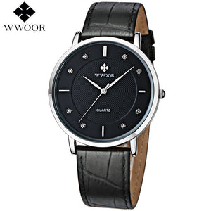 Wwoor Leather Quartz Alloy Quartz Wristwatches Men 8011