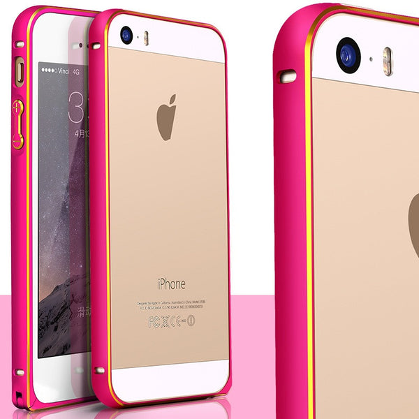 Metal Bumper Case for iPhone 5 5S SE Hippocampal Button Lock Aluminum Alloy Frame with Gold Side High Quality
