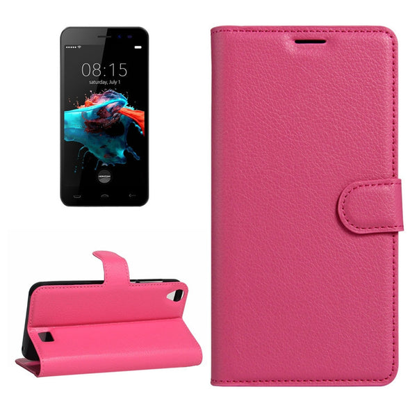 Mobile Phone Foldable Wallet Case For HOMTOM HT16 Litchi Texture Horizontal Flip PU Leather Case with Holder & Card Slots