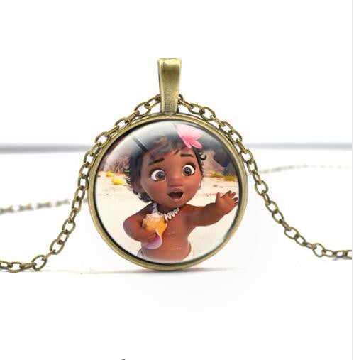 Movie Series Princess Moana Principessa Baby Maui Necklace Pendant Silver And Bronze Chaveiro Llavero Figure Model Toy
