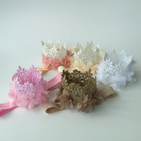 Multi Colors Mini Felt Glitter Lace Crown Headbands with Pretty Chiffon Flowers For Baby Girls DIY Garments Hair Accessories