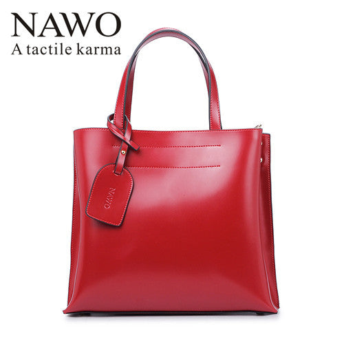 Nawo Letter Solid Split Leather Handbags Women N153431