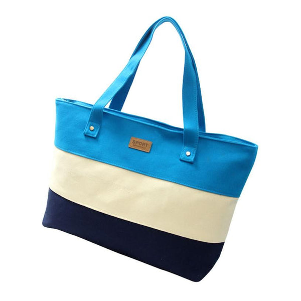 Hcandice Striped Canvas Handbags Women F-