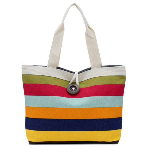 Hcandice Button Striped Canvas Handbags Women F-