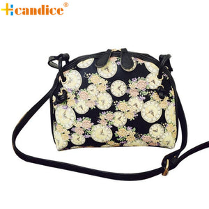 Hcandice Cartoon Printing Floral Pu Handbags Women Handbag
