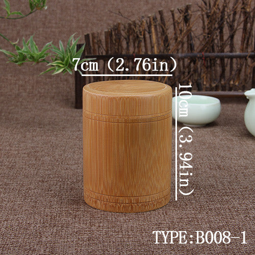 Natural bamboo tea box tea canister kitchen storage jars column Fahion bottles chests cultural spice box storage box tea caddy