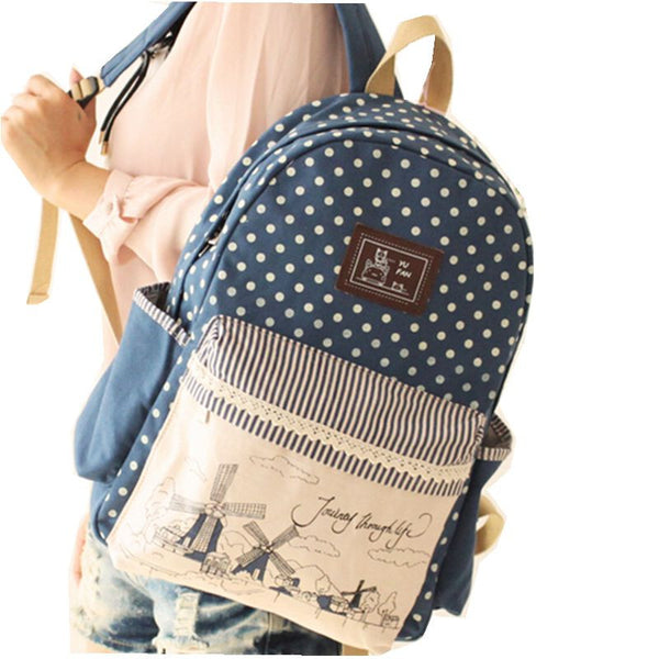 Tdwbe Lace Dot Canvas Backpacks Women Bags