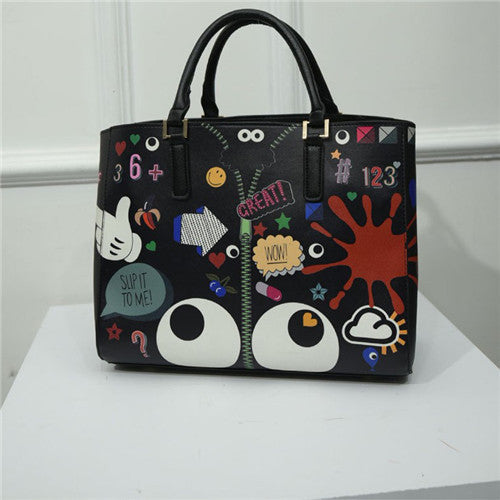 Ellacey Cartoon Printing Character Pu Handbags Women Ep-345