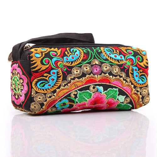 New 2017 National trend women's purse organizer wallets Embroidered day cluth keychain holder bag ladies travel pouch