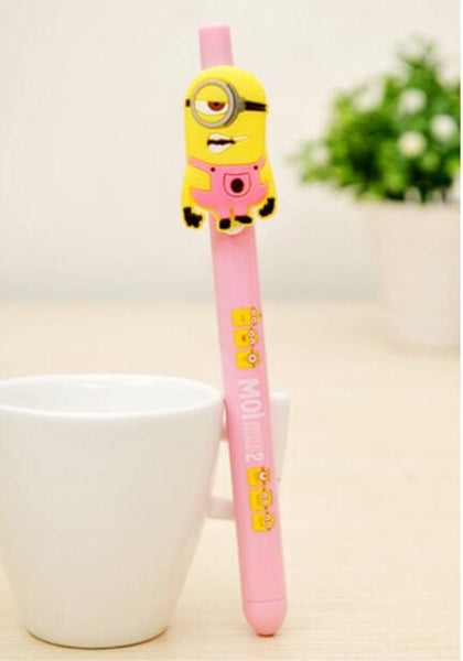 New 8 Despicable Me 2 Minions Figures Inks Ballpoint Pen Pens Kids Children Student Stationery Gifts