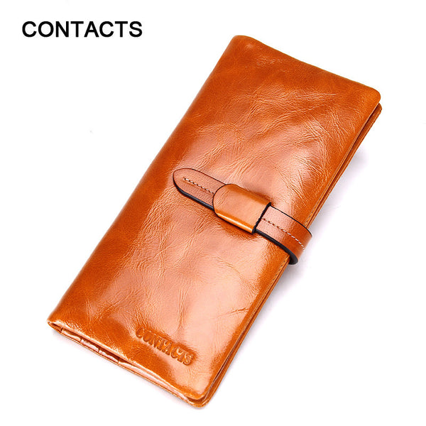 Contact's Solid Genuine Leather Wallet Women C1162-brown