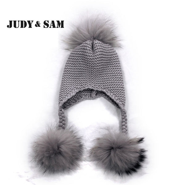 New Fashion JSFUR Brand Real Raccoon Fur Pom Poms Wool Blend Hat Cap For Girls Unique Fur Bobble Kids Beanie