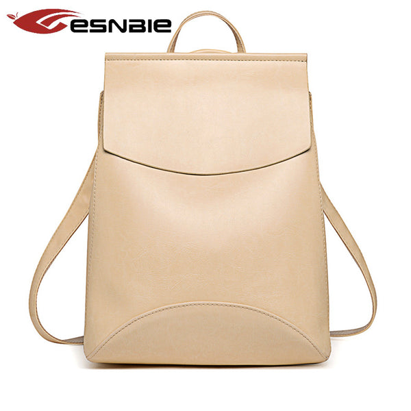 Esnbie Solid Pu Backpacks Women Sn8966