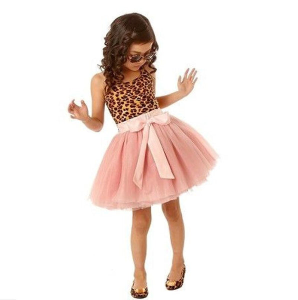 New Fashion casual girls dresses summer 2016 kids baby girls clothes sleeveless leopard girl dress princess bow christmas party