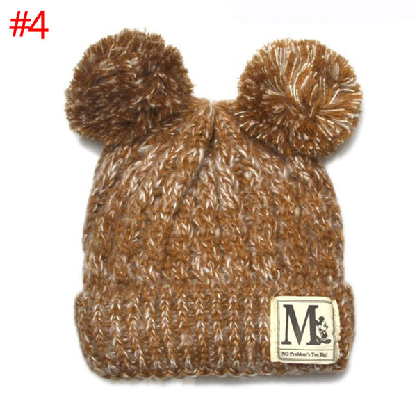 New Korean Fashion Baby Girls Boys Beanie Hats Kids Children Dual Ball Knit Sweater Cap Hats Winter Warm Knitted hats H765