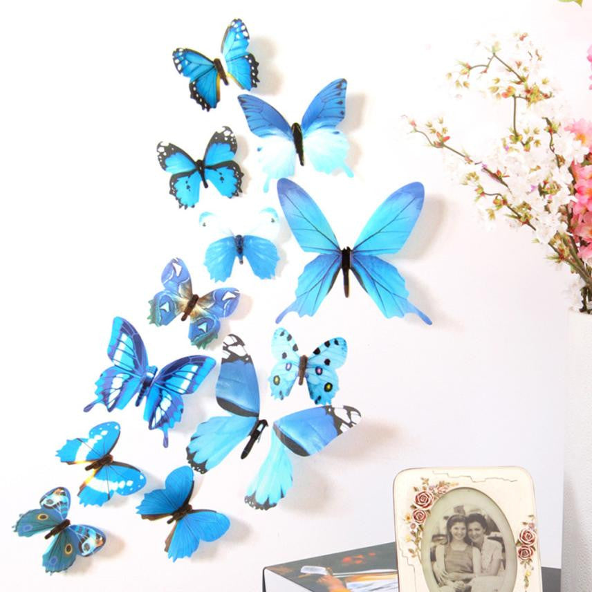 New Qualified Wall Stickers 12pcs Decal Wall Stickers Home Decorations 3D Butterfly Rainbow dig116