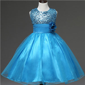 New Sequin Floral Fabric Dress For Baby Girls Summer Formal Christening Blue Children's Dress Clothes Birthday Party Gift