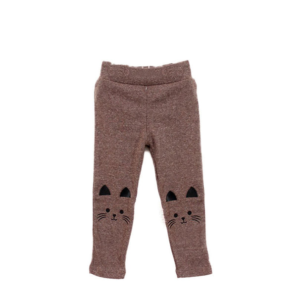 New Toddler Baby Girls Kids Skinny Pants Cute Cat Print Stretchy Warm Leggings