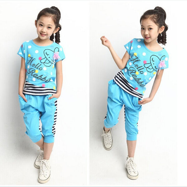New girl set summer 2016 Children Clothing Set 100% Cotton Cartoon Letter Girls Clothing sets Casual Short-sleeve set Girl