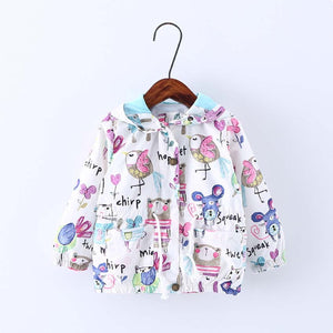Next 2017 New Spring Baby Coat And Jacket For Girls Cartoon Graffiti Hooded Windbreaker For Girls Full Sleeve Toddler Outerwear