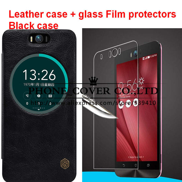 Nillkin Genuine Wallet Leather Case cover For Asus Zenfone Selfie ZD551KL fundas bags cases coque + HD Glass screen protectors
