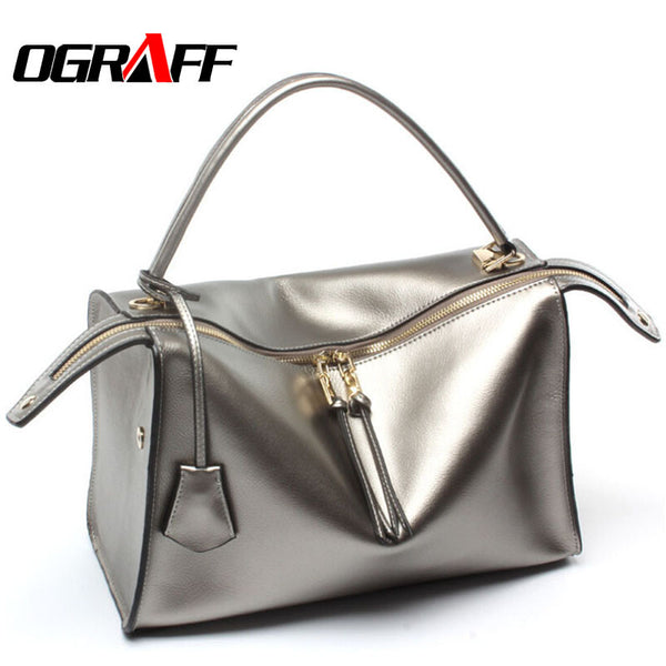 Ograff Solid Genuine Leather Handbags Women A8g165