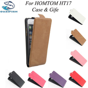 (OUZIFISH)Up-Down Homtom HT17 case cover Good Quality New Leather Case + hard Back cover For Homtom HT17 Cellphone Case HT 17