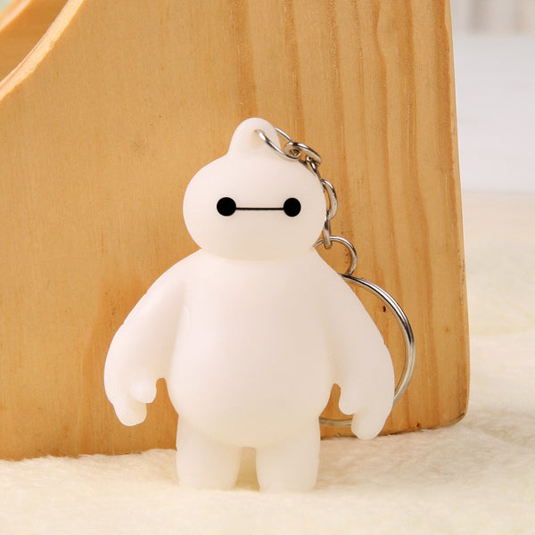 One Piece Big Hero 6 Baymax Anime Key Chain Head Can Moving Cute Action Figure Toy Pendant Keychain 5.5cm Free Shipping