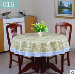 Pastoral PVC Round Table Cloth Waterproof Oilproof Floral Printed Lace Edge Plastic Table Covers Anti Hot Coffee Tablecloths
