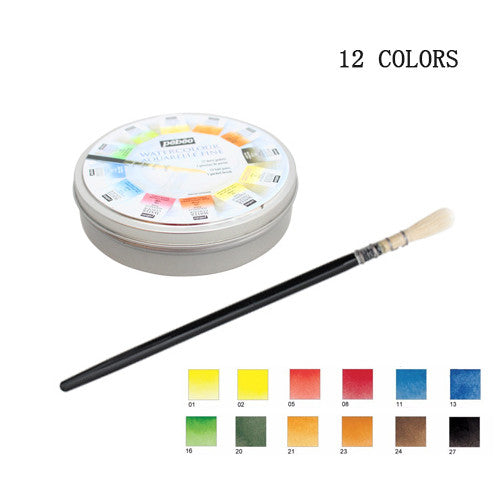 Pebeo 12 24 colors solid watercolor paint high quality tin box set for etzetra - High quality exterior paint set ...