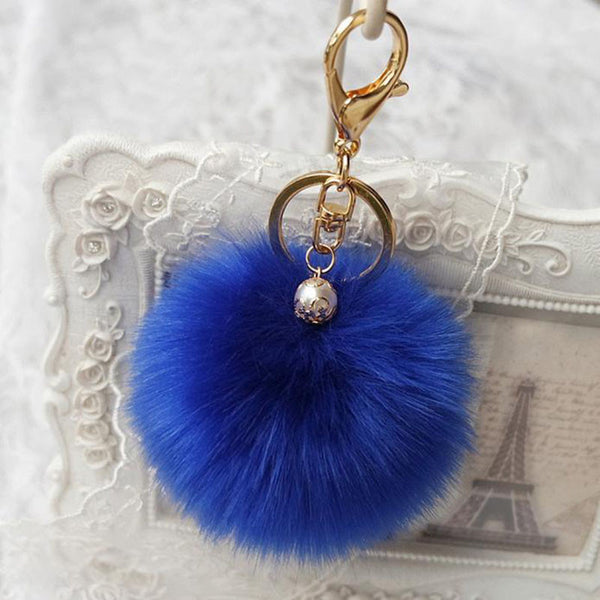Rabbit Fur Ball Keychain Bag Plush Car Key Ring Car Key Pendant