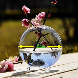Round Glass Vase Terrarium Vases Cute Flower Pots Tabletop Glass Modern Vaso Wedding Floor Air Planter Decorative Vase