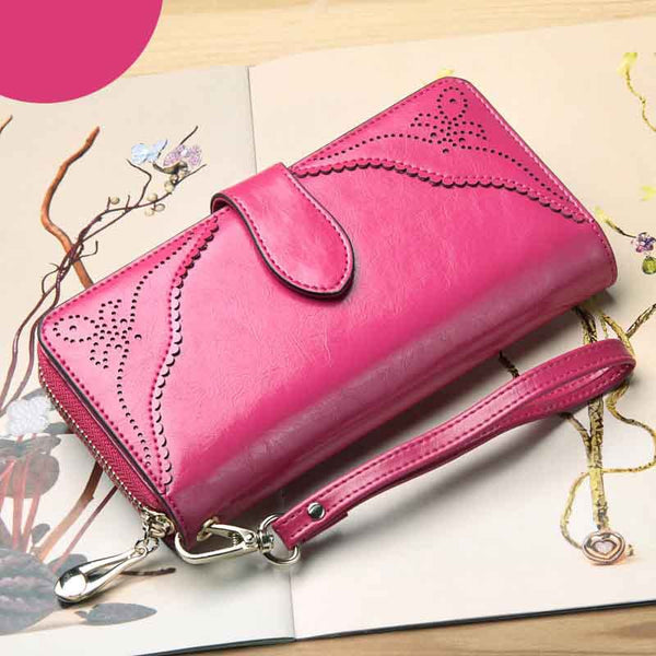 Royal Style Wallet for Women Purse Genuine Leather Women Wallets Large Zipper Long Wallet Women Phone Pouch Wrislet Purses 1440
