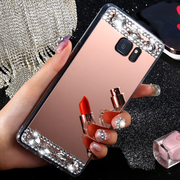 S7 S7 Edge Shiny Diamond Mirror Acrylic Hard Back Case for Samsung S6 For iPhone 6 6 Plus 7 7 Plus Bling Back Protective Cover