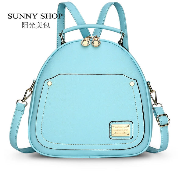 Sunny Shop Lock Solid Pu Backpacks Women