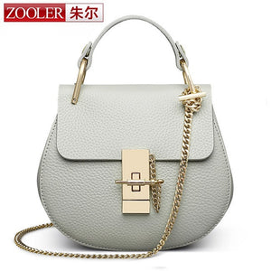 Zooler Solid Genuine Leather Handbags Women 1900