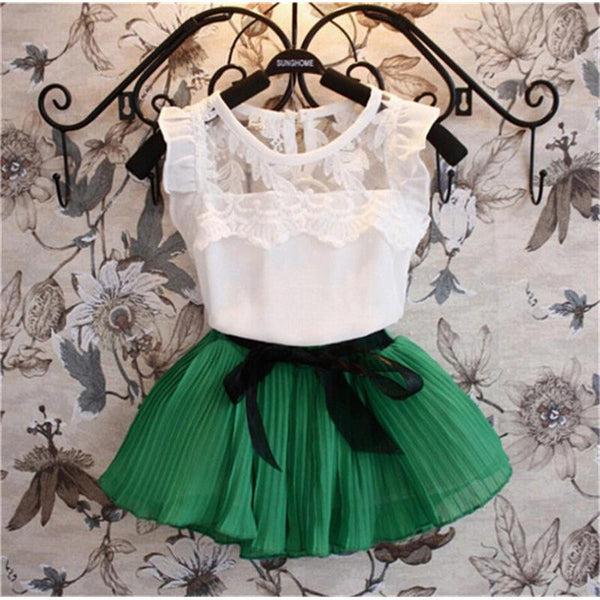Short Sleeve Chiffon Kids Clothes Pullover Solid Color Childrens Clothing for Girls 2016 New Fashion Girls Skirt Set